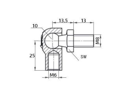 Kulový kloub k plynové vzpěře M8x13 (c=25mm), pro závit M6