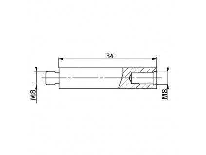 Prodlužovací nástavec k plynové vzpěře, 34mm, pro závit M8