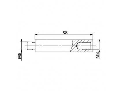 Prodlužovací nástavec k plynové vzpěře, 58mm, pro závit M8