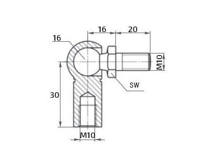 Kulový kloub k plynové vzpěře M10x20 (c=30mm), pro závit M10