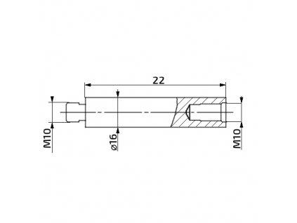 Prodlužovací nástavec k plynové vzpěře, 22mm, pro závit M10