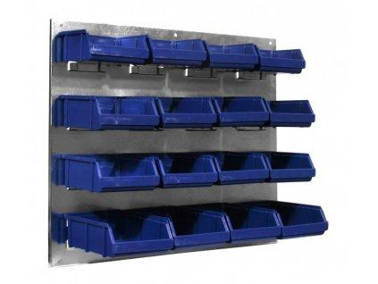Kovový organizér s plastovými boxy