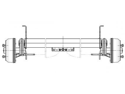 Náprava KNOTT GB 13 (1350 kg) b=1320 mm 200x50 (112x5), vysoké patky (Sacher)