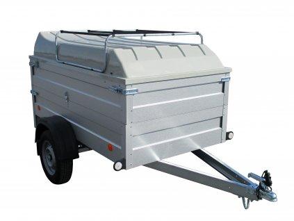 plechový přívěsný vozík s laminátovým víkem