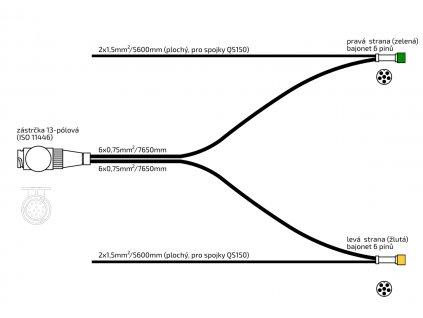 Kabeláž 7650/13-pól. zástrčka, s předními vývody SNAP-IN