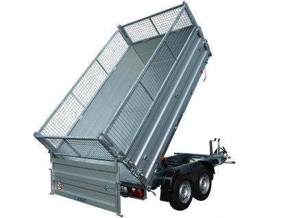 přívěsný vozík třístranný sklápěcí sklápěč s gitter nástavbou