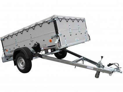 naklápěcí přívěsný vozík s nástavbou a přetahovací plachtou
