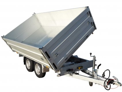 třístranný sklápěcí přívěsný vozík s nástavbou bočnic 700 mm alaspro