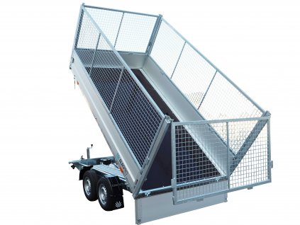 třístranný sklápěcí přívěsný vozík s gitter nsátavbou 2700 kg 1