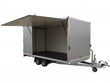 skříňový přívěsný vozík s výklopnou boční rampou alaspro
