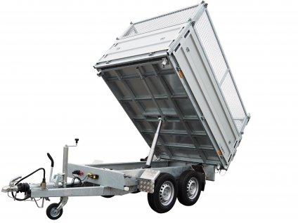 třístranný sklápěcí přívěsný vozík s nástavbou bočnic a gitter nástavbou