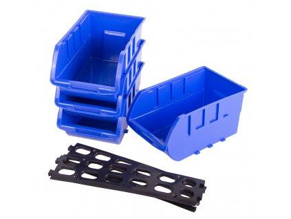Závěsná plastová lišta se 4 plastovými boxy