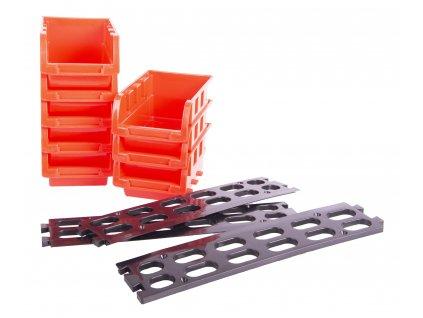Závěsná plastová lišta s 6 plastovými boxy