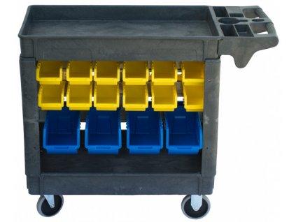 Dílenský vozík s boxy 790 x 430 x 855 mm, 32 boxů