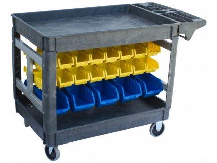 Dílenský vozík s boxy 950 x 650 x 855 mm, 42 boxů
