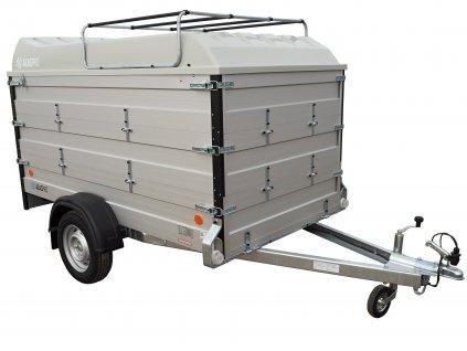 přívěsný vozík s dvěmi nástavbami a laminátovým víkem se zahrádkou