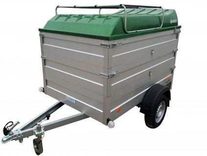 přívěsný vozík s dvojitou nástavbou a víkem zelená metalíza alaspro