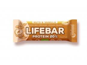Bio tyčinka Lifebar protein Vanilla nuts 47g