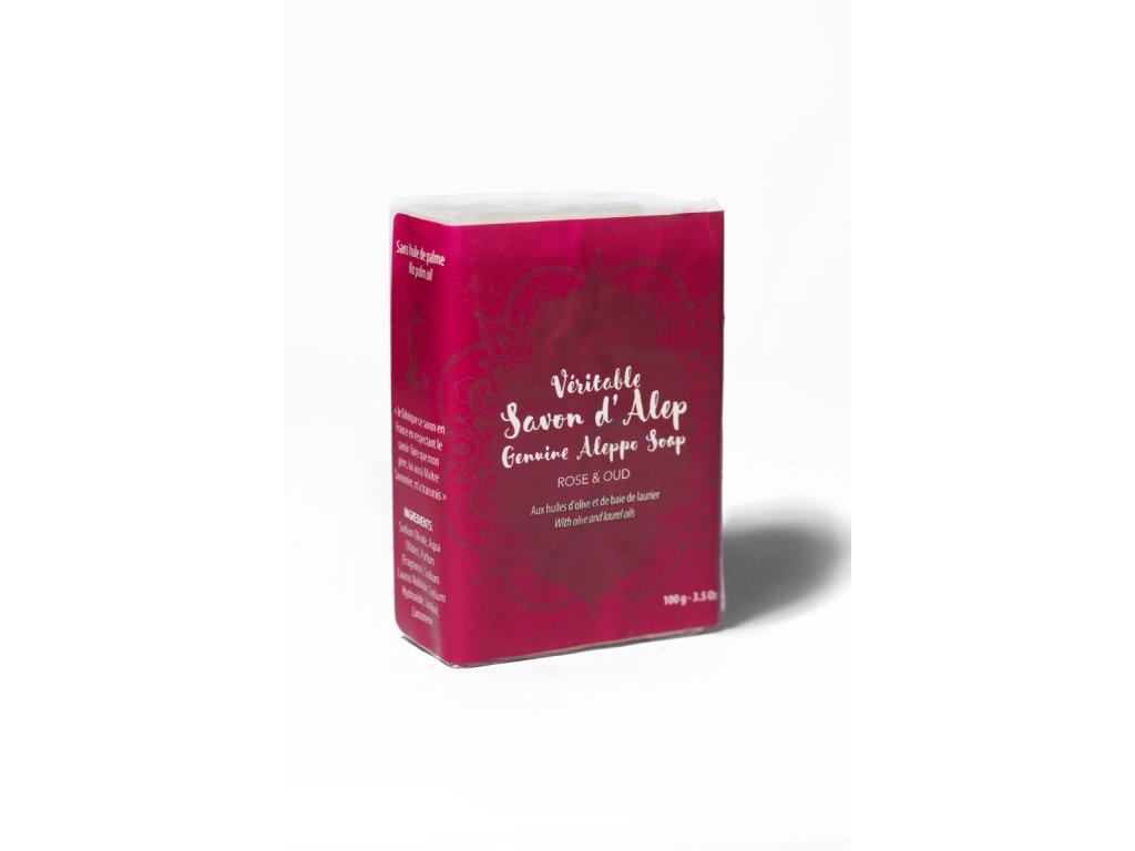 Luxusní aleppské mýdlo s růží a oudem na zralou a suchou pleť 100 g