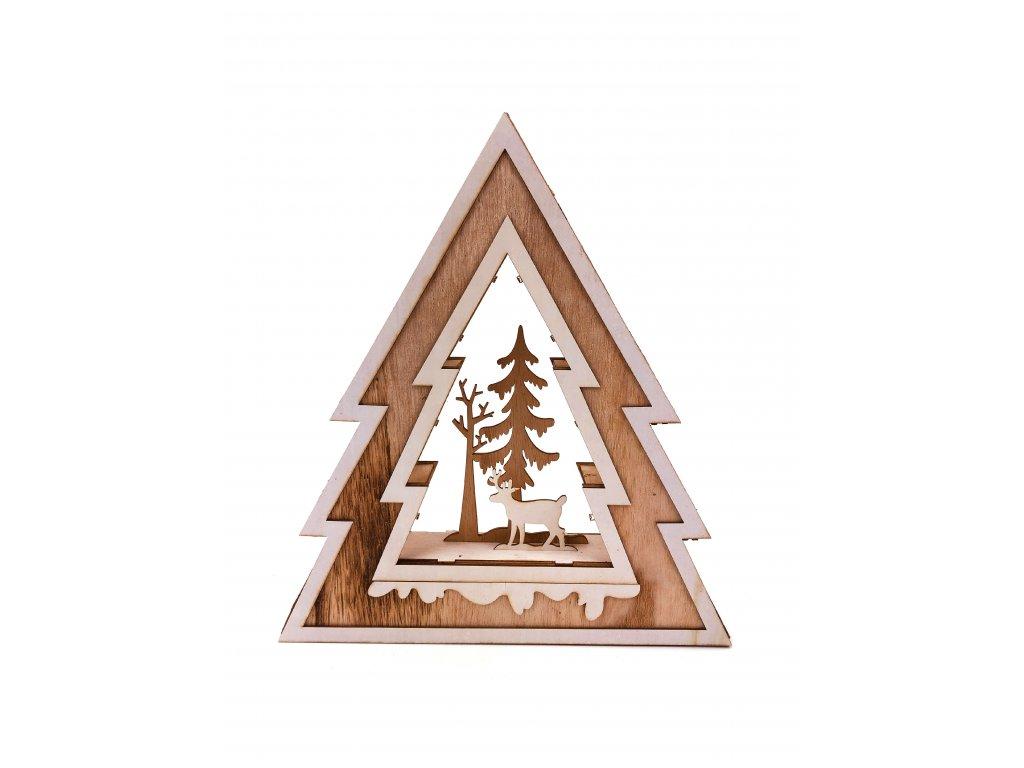 Dřevěný vánoční svítící strom - Jelen