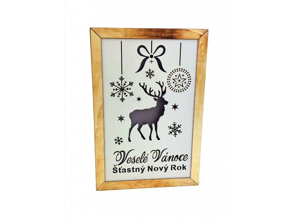 Dřevěná svítící dekorace Veselé Vánoce - Sob
