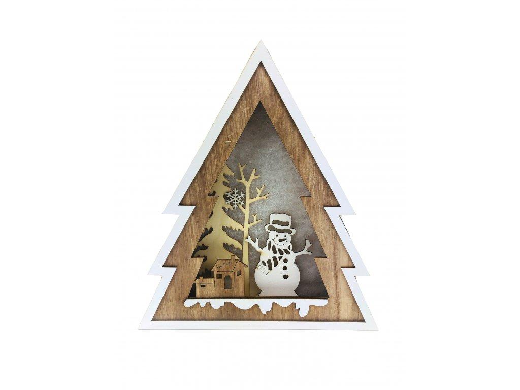 Dřevěná svítící dekorace strom - Sněhulák se stromkem