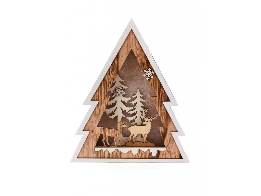 Dřevěná svítící dekorace strom - Jelen a laň