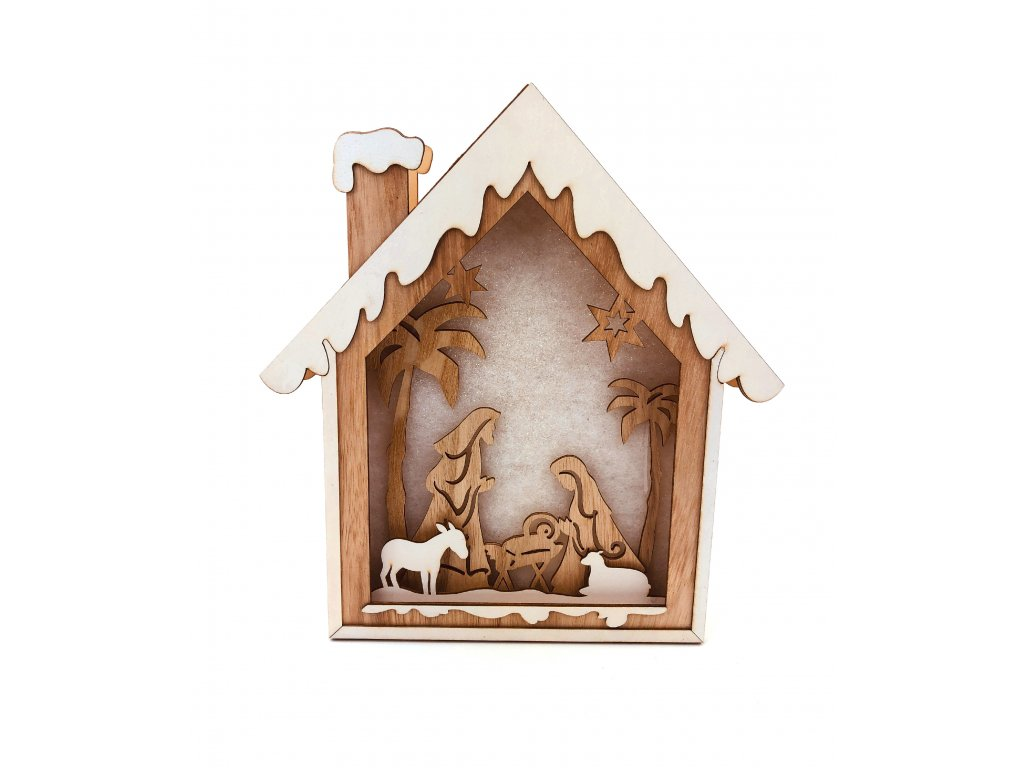 Dřevěná svítící dekorace dům - Betlém