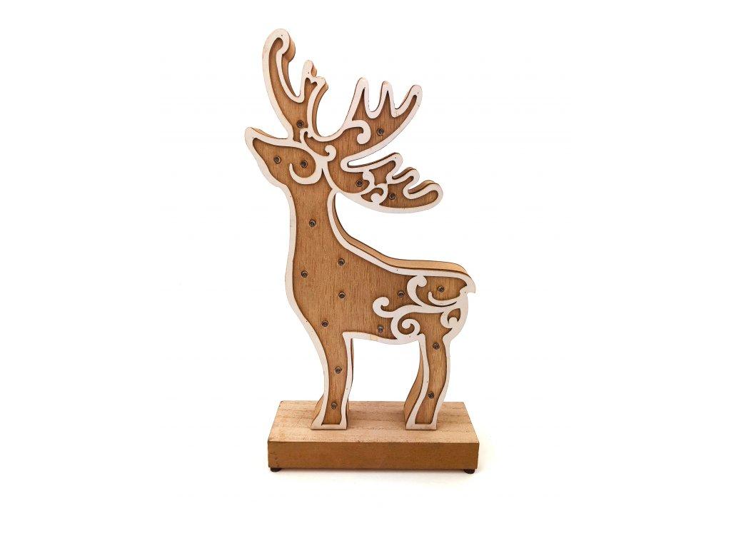 Dřevěná svítící dekorace - Sob (35 cm)