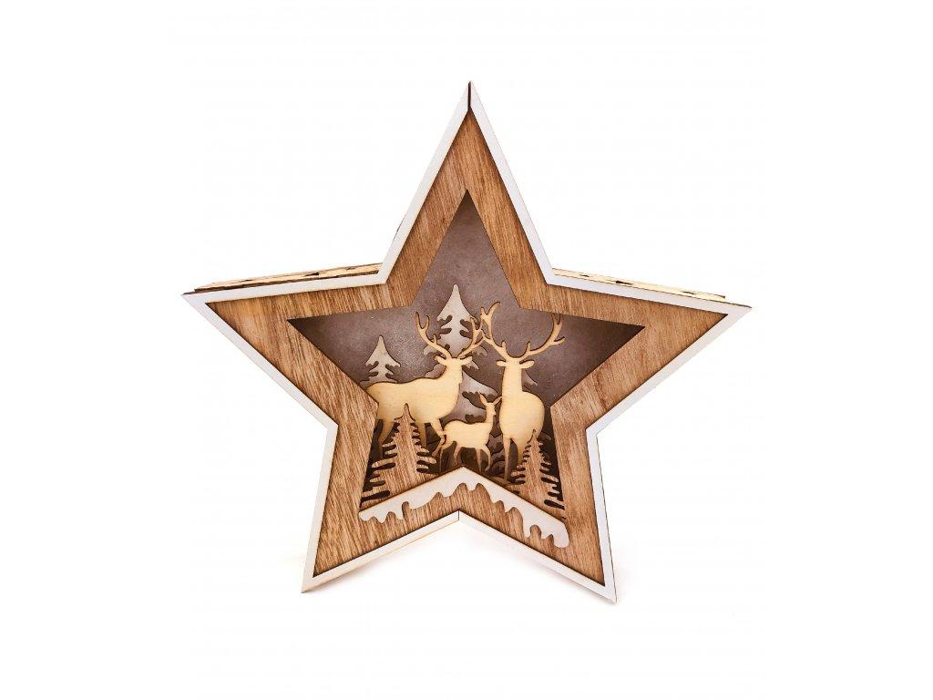 Dřevěná svítící dekorace hvězda - Jeleni s kolouškem