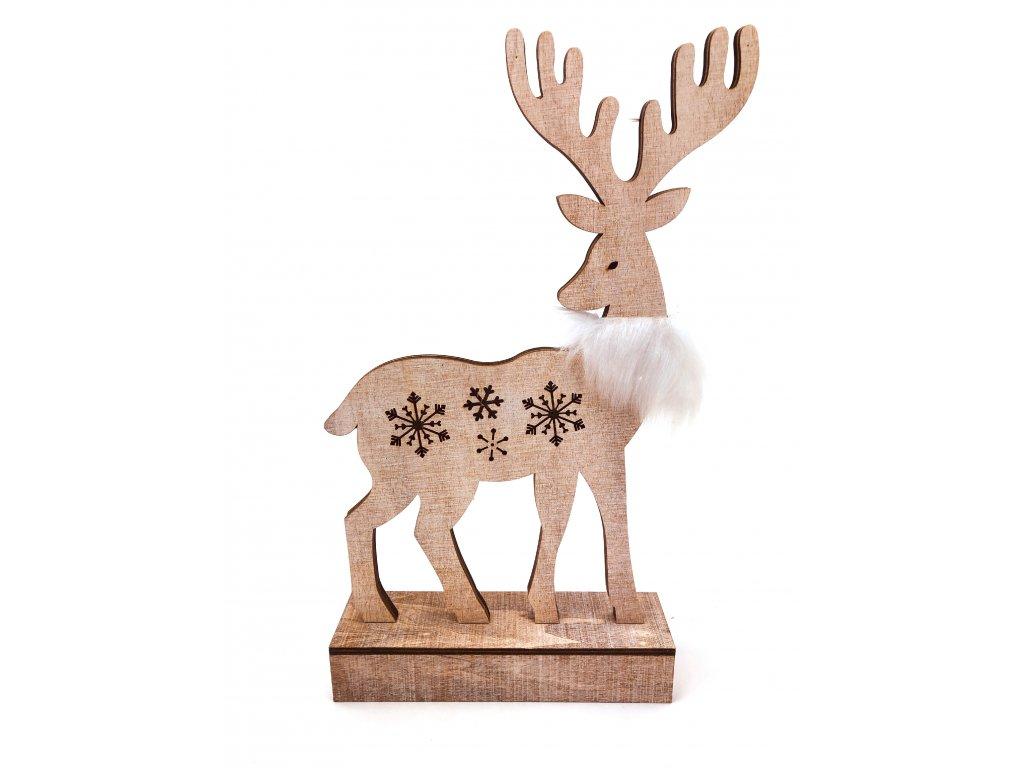 Dřevěný svítící sob - s bílým kožíškem (33 cm)