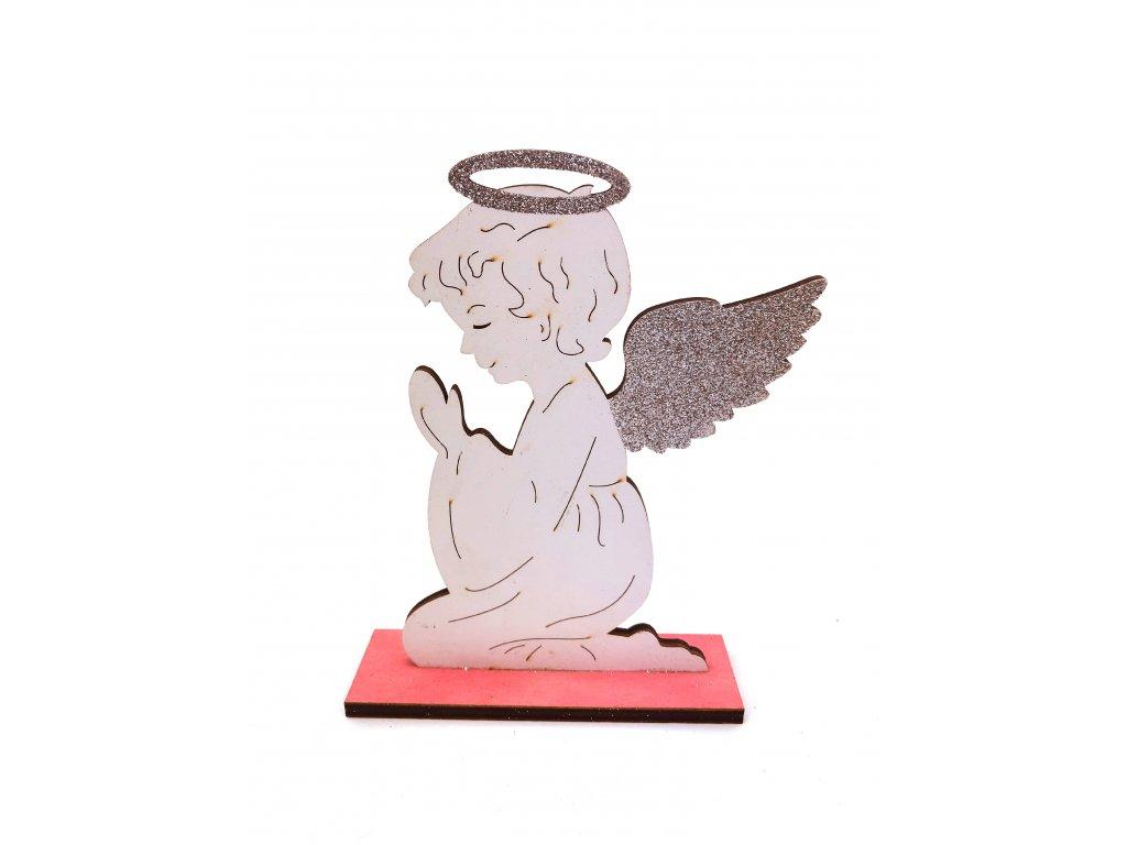 Dřevěná vánoční dekorace - Anděl (19 cm)
