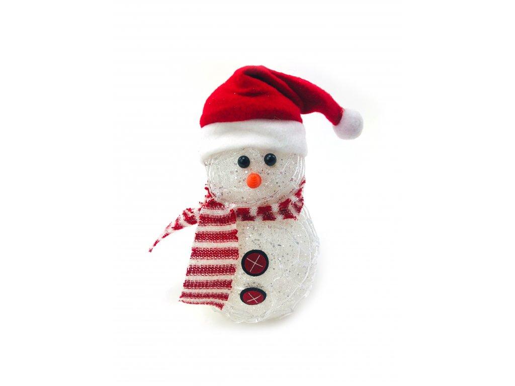 Svítící LED sněhulák - v čepici s červenou šálou (20 cm)