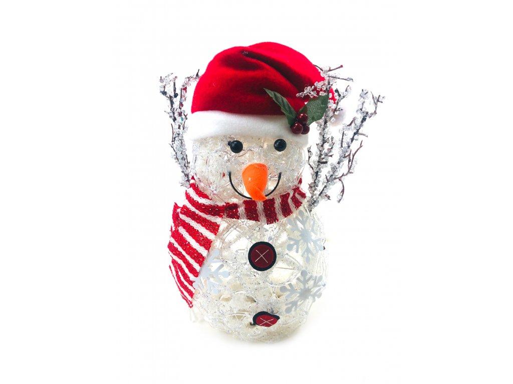 Svítící LED sněhulák - v čepici s červenou šálou (33 cm)