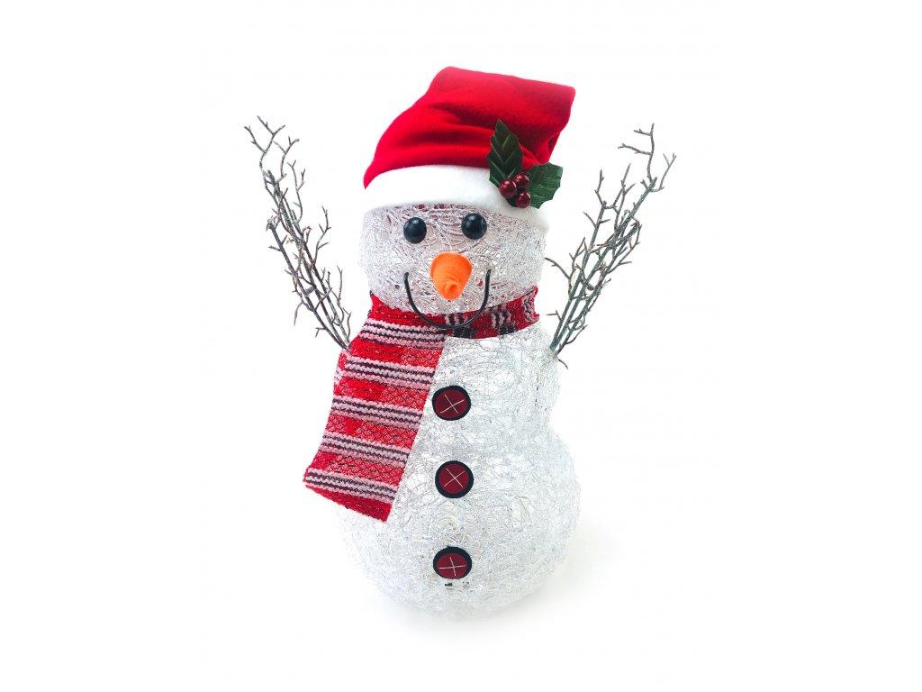 Svítící LED sněhulák - v čepici s pruhovanou šálou (40 cm)