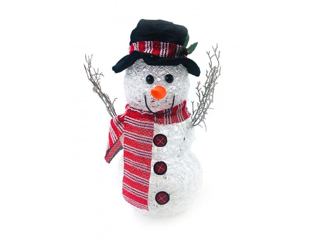 Svítící LED sněhulák - v klobouku a červené šále (40 cm)