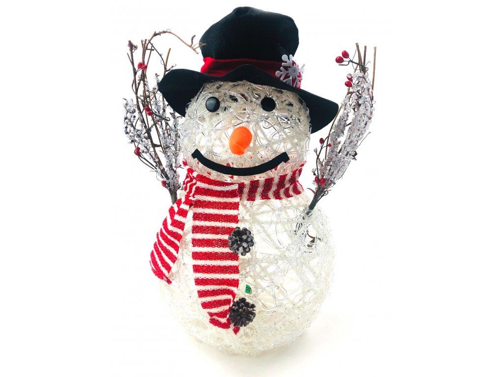 Svítící LED sněhulák - v klobouku a červené šále (47 cm)