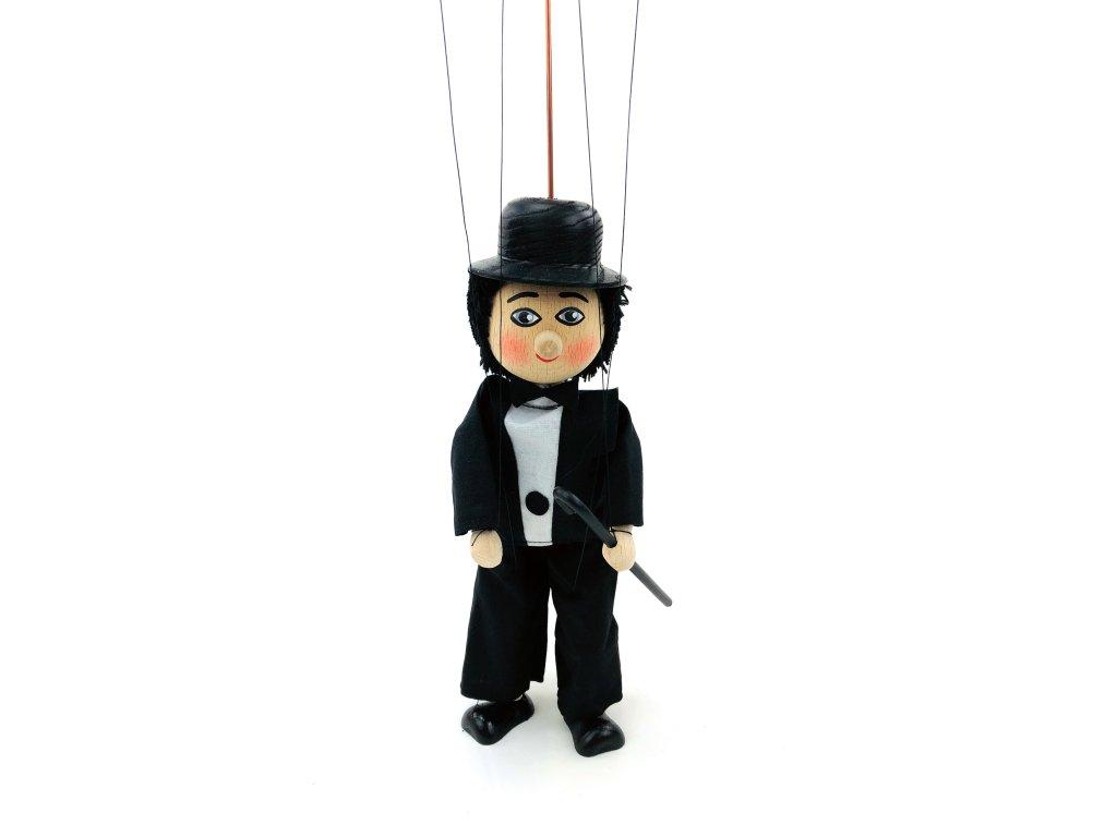 Dřevěná loutka - Charlie Chaplin (22 cm)