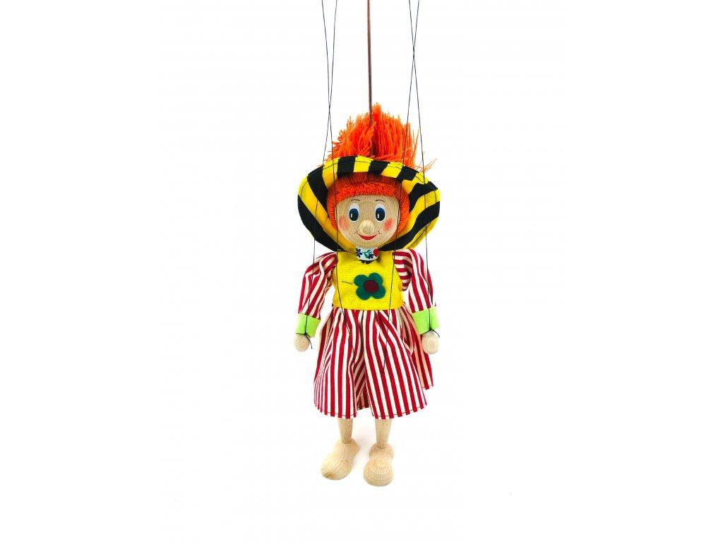 Dřevěná loutka - Klaunka v proužkovaných šatech (22 cm)