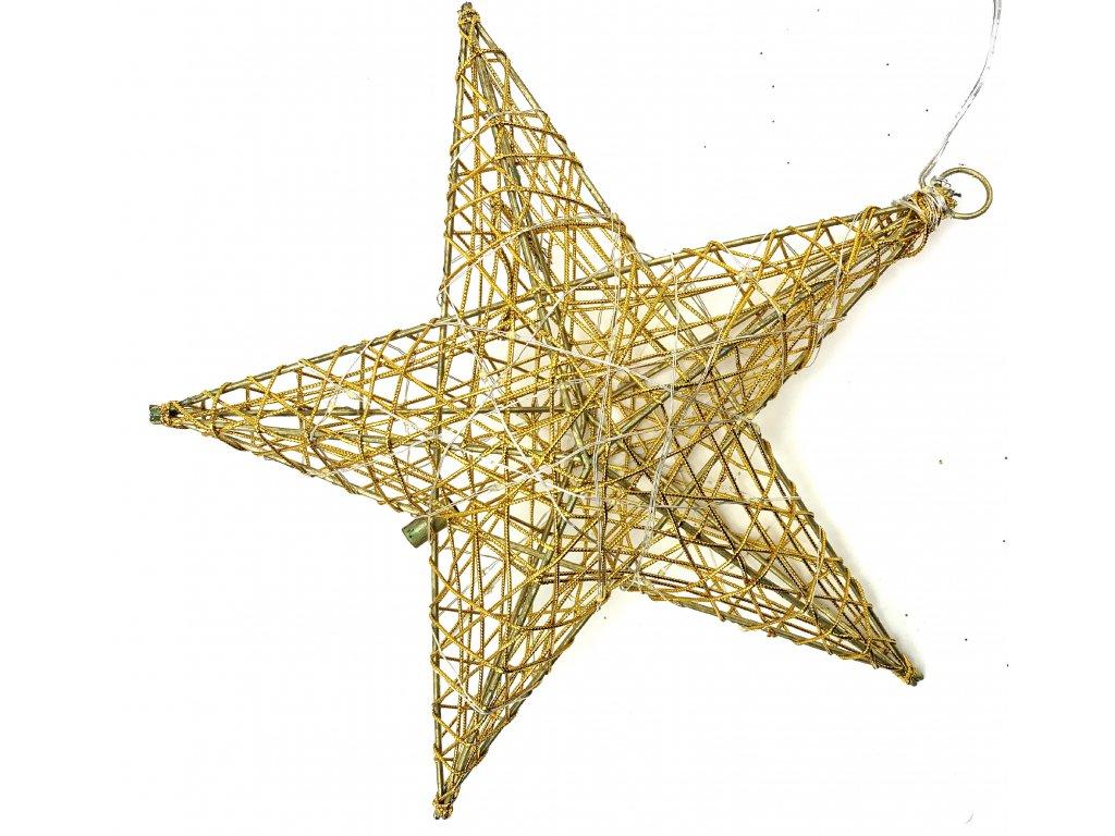 Vánoční svítící dekorace - Hvězda 50 cm (zlatá)