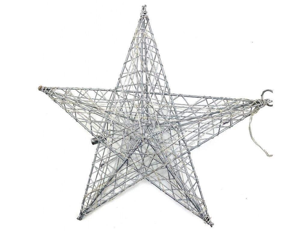 Vánoční svítící dekorace - Hvězda 16 cm (stříbrná)