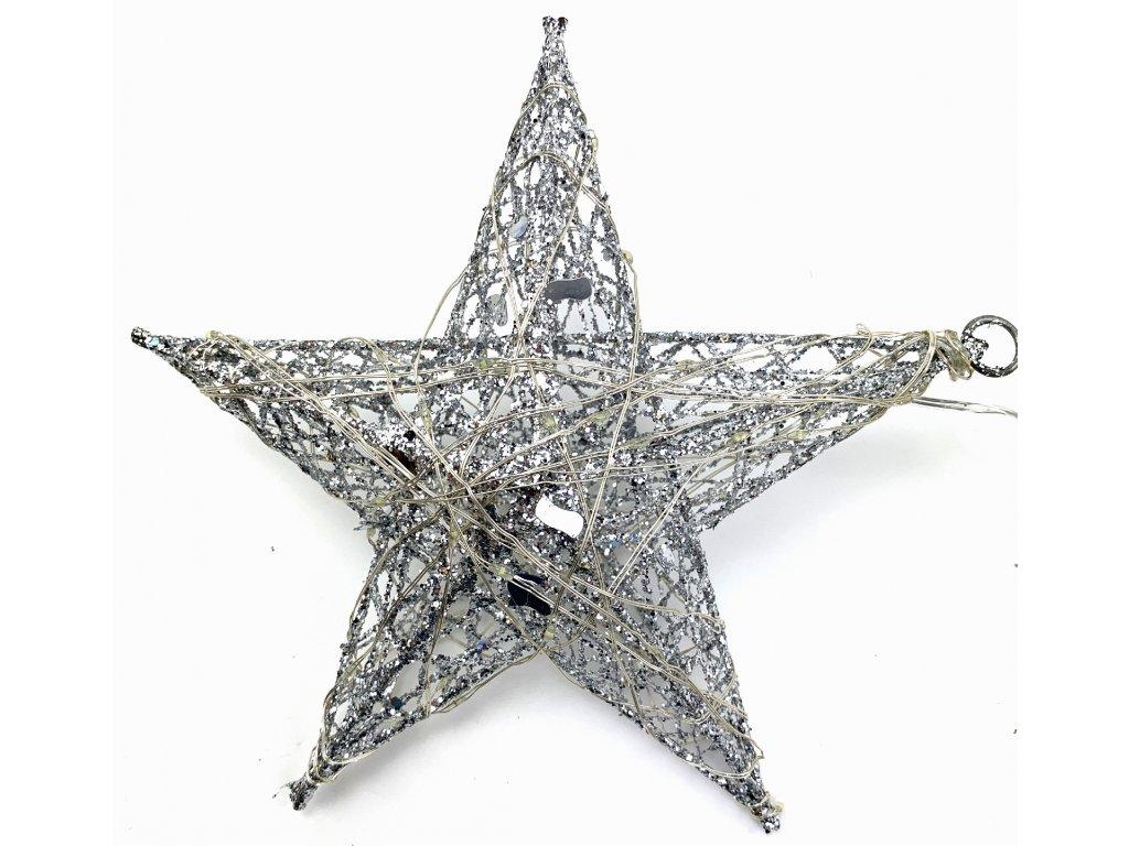 Vánoční svítící dekorace - Hvězda 16 cm (stříbrná se třpytkami)