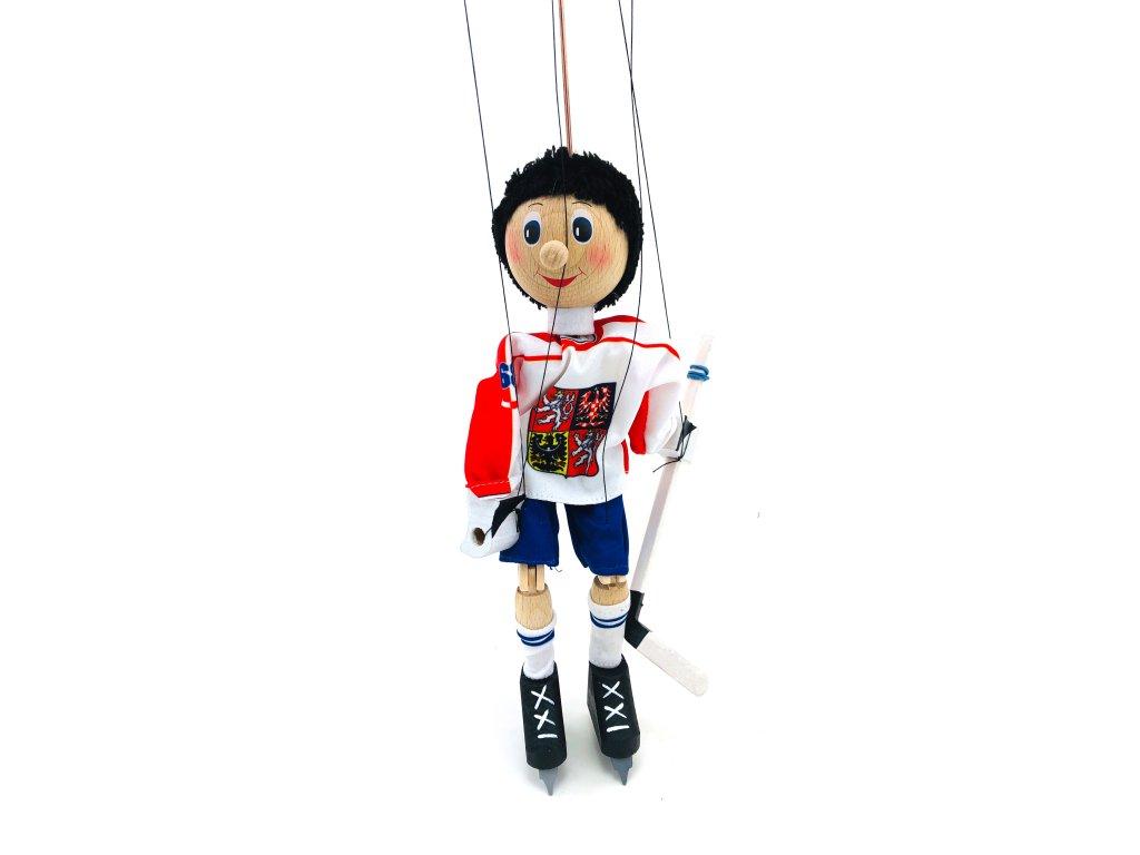 Dřevěná loutka - Hokejista (22 cm)