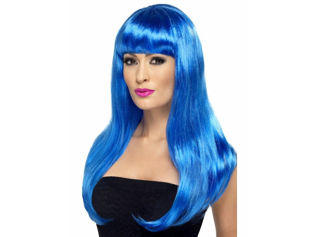 1966 1 damska paruka dlouha s ofinou modra