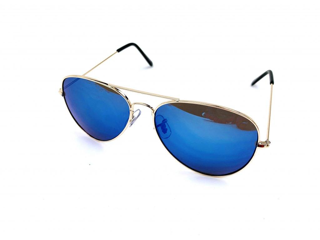 63546 slunecni bryle aviator modre zrcadlove zlate obroucky