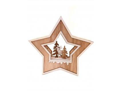 Dřevěná vánoční svítící hvězda - Jelen