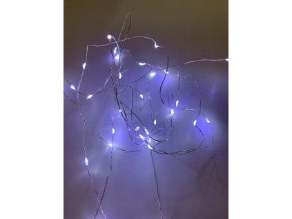 Vnitřní vánoční mikro řetěz - Studená bílá 20 až 100 led (na baterie)
