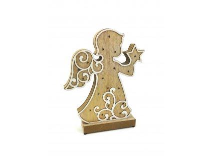 Dřevěná svítící dekorace Anděl s hvězdou