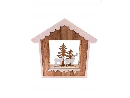 Dřevěná svítící dekorace dům - Jelen a laň