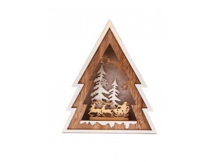 Dřevěná svítící dekorace strom - Santa Claus na saních
